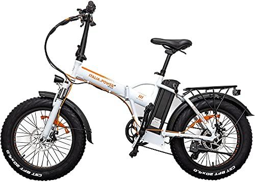 Italia Power E- Bike, Bicicletta Elettrica Pieghevole Unisex Adulto, Bianco, M