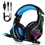 Unisun Beexcellent Gaming Headset für PS4/PC/XboxOne, Gaming Kopfhörer Mit Rauschunterdrückung Surround Bass Sound,mit Sensiblen Mikrofon und LED Licht 3,5 mm Klinkengeräusch Headset…