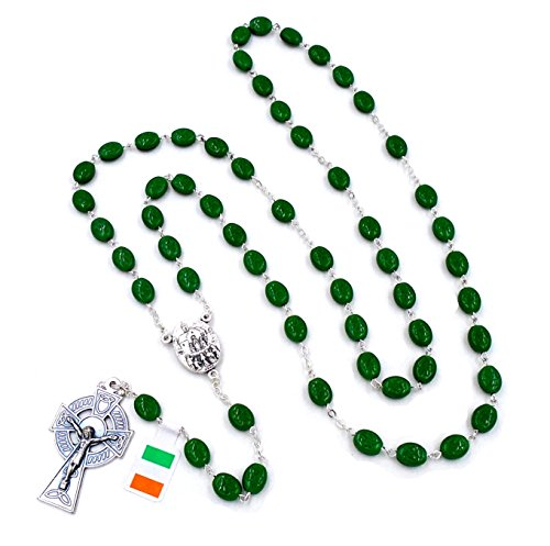 Irish Celtic Rosary with Shamrock Beads and Drop of 'Knock, Ireland' Water