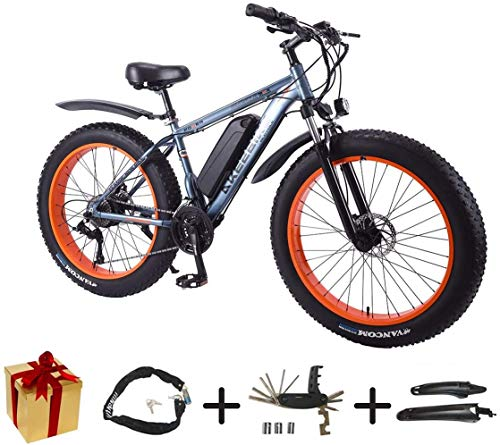 BIKE Electric Bicycle, Mountain Cycling Bicycle - 350W 36V Mountain Bike 26 inch 27 Speed Fat Tire Snow Bike Removable Battery Gray-50Km,Gray,50Km