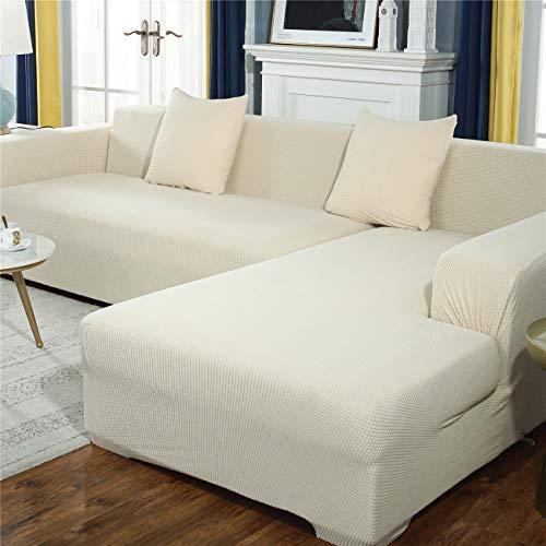 Sofabezug in L-Form, dicker Mais-Samt, Sofaschonbezug, Haustierschutz, rutschfest, waschbar, Möbelschutz, modern, Ecksofabezug, weiß, 5-Sitzer