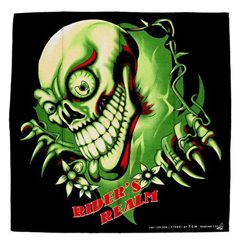 Jhesi Tête de Mort Skull Tattoo Green Bandana Bandana Foulard Bandana Chapeau Motard idéales pour Sport ou Loisirs nickituch