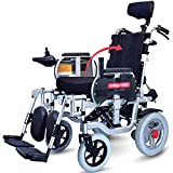 APOAD Folding Electric Wheelchair With Headrest,lightweight Portable Powerchair,dual Function Elderly Disabled Intelligent Automatic Scooter Drive With Electric Power Or Use As Manual Wheelchair