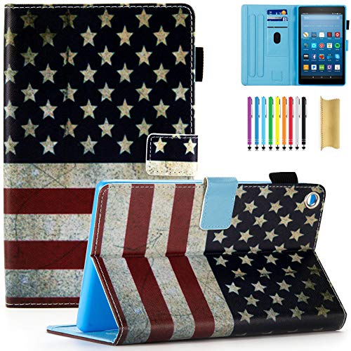 Dteck Fire HD 8 Case (Compatible with 8th Generation 2018 /7th Generation 2017 /6th Generation 2016), Protective Leather Wallet Fold Stand Slim Flip Cover with Auto Sleep Wake/Stylus Pen (US Flag)