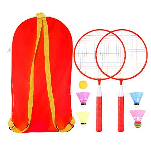 Badminton-Set für Kinder, 1 Paar Badmintonschläger-Set, leichtes Kinder-Badmintonschläger mit 2 Badmintonschlägern, 4 Federbällen, 1 Schwammball für Indoor Outdoor Sport Spiel mit Tragetasche (rot)