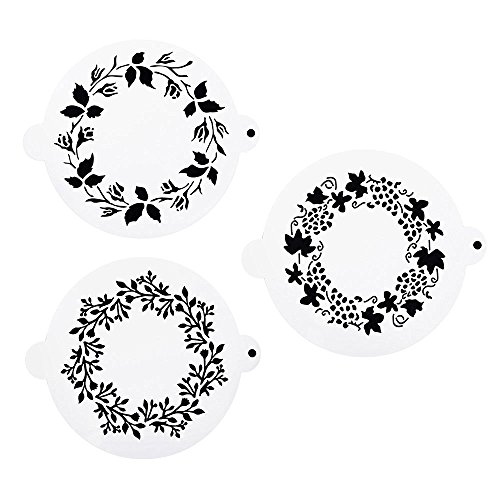DECORA 3 Pieces Plastic Hollow wreath Stencils Cake Decorating Stencil Cake Templates Strew Pad Fondant Decor Stencil Mold by Art Kitchenware