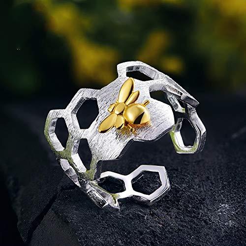 925 Sterling zilveren ring, 18K gouden bijen ringen natuurlijke fijne sieraden Home Guard honingraat open ring voor vrouwen