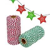 Noël Craft Boulanger, 2rouleaux Cadeau de Noël Corde de coton (600Pieds) + 20pcs pour...