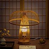 LANMOU E27 Lámpara De Mesa Creativa Con Pantalla de Bambú Linterna Retro de Rattan y Mimbre Lámpara Mesita de Noche LED Minimalista Lámpara de Noche Vintage para Dormitorio Salón Restaurante