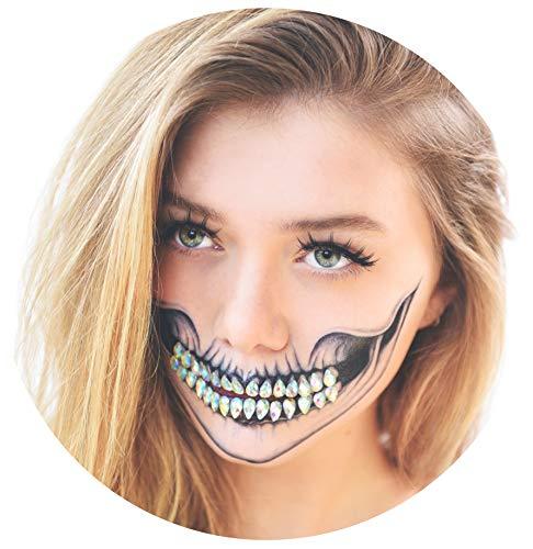 Tattoocrew 4 x Halloween Tattoos Totenkopf + 30 Glitzersteine als Zähne - Diamond Skull Look zum Aufkleben
