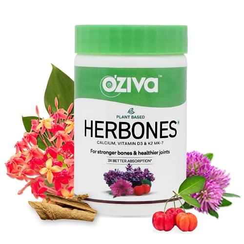 OZiva HerBones for Women (with Plant based Calcium, Vegan Vitamin D3, K2 MK-7) for Stronger Bones, Healthier Joints & Better Absorption, 60 veg Capsules