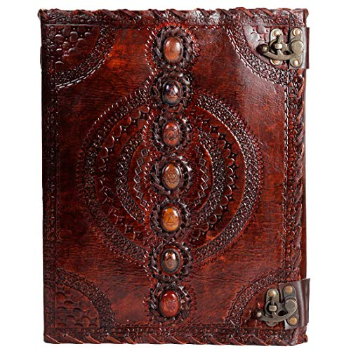 Leather Journal Real Stone Seven Chakra Medieval Stone Embossed Handmade Book of Shadows Notebook Office Diary College Book Poetry Book Sketch Book Grimoire (Brown, 10x13 inch)