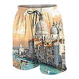 De Los Hombres Casual Pantalones Cortos,Gran Canal de Venecia Italia Paisaje Urbano histórico Europeo Ciudad Torre Boho,Secado Rápido Traje de Baño Playa Ropa de Deporte con Forro de Malla