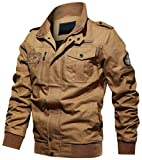 chouyatou Men's Casual Long Sleeve Zip Lightweight Military Flight Cotton Bomber Jacket (Medium, Khaki)