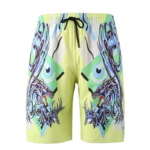 Zarupeng Strandshorts voor heren, met 3D-print, voor joggen en training, elastische taille, vrije tijd, korte broek met trekkoord
