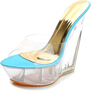 Transparent Womens Platform Mules,Ladies Wedge Heel Peep Toe Sandals Dress/Party/Pumps