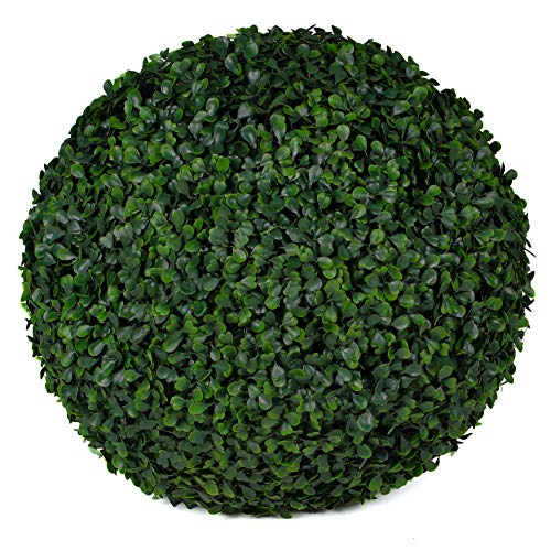 """3rd Street Inn Boxwood Topiary Ball - 15"""" Artificial Topiary Plant - Wedding Decor - Indoor/Outdoor Artificial Plant Ball - Topiary Tree Substitute (2, Boxwood)"""