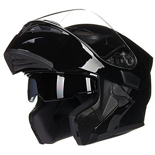 ILM Motorcycle Dual Visor Flip up Modular Full Face Helmet DOT 6 Colors (L, Gloss Black)