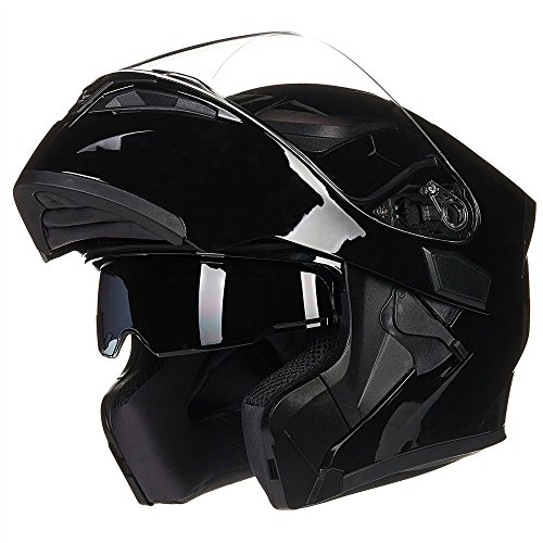 ILM Motorcycle Dual Visor Flip up Modular Full Face Helmet DOT 6 Colors (M, Gloss Black)
