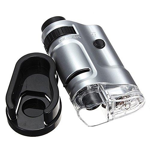 CoCocina 20X-40X Mini LED Pocket Microscope Magnifier Loupe