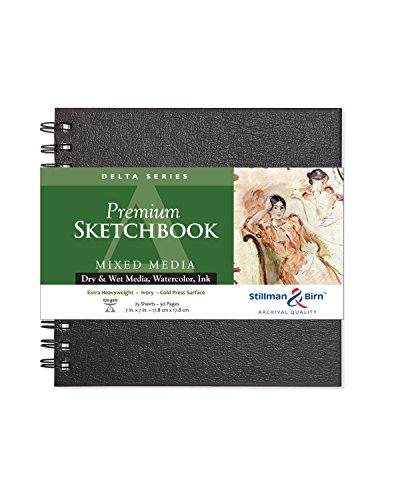 Stillman & Birn Delta Series Wirebound Sketchbook, 7' x 7', 270 gsm (Extra Heavyweight), Ivory Paper, Cold Press Surface
