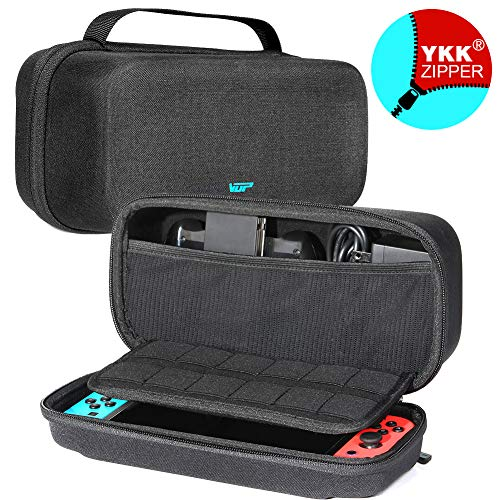 Nintendo Switch Case, VUP Switch Hard Cover Protective Travel Storage Shell for Nintendo Switch Console & Accessories with 18 Game Cartridges and Handle (Black)