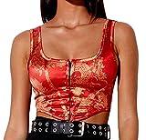 Women Bustier Corset Top Y2K Push Up Crop Tops Strap Tank Top Party Clubwear Bodice Vintage Streetwear (BS-red,S)