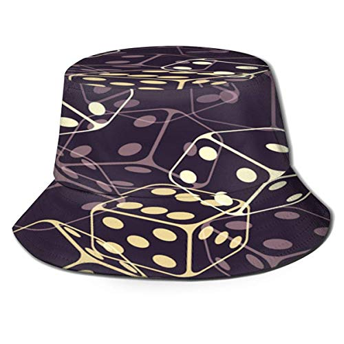 Beyond Loser Bucket Hat,Fishing Hat Golden Dices Black Soft Cotton & Polyester Fabric Unisex Wide Sun Cap Windproof for Hiking Camping Traveling Fishing