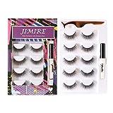 JIMIRE Natural False Eyelashes with Glue and Tweezers Round Strip False Lashes Kit 5 Pairs