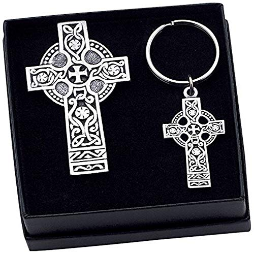 Cathedral Art Celtic Cross Visor Clip and Key Ring Gift Set