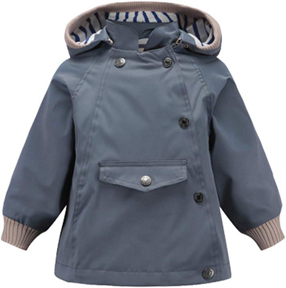 Boys Hooded Waterproof Windbreaker Spring Fall Raincoat Outwear Jacket