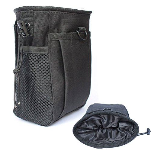 CREATRILL Tactical Molle Drawstring Magazine Dump Pouch, Military Adjustable Belt Utility Fanny Hip Holster Bag Outdoor Ammo Pouch (Black)