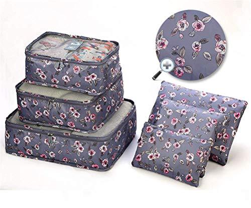 6 PCS Cubos de Embalaje para Maleta Impermeable Viaje Organizadores de Embalaje Esenciales Set Organizador de Equipaje de Viaje Ropa Zapatos Cosméticos Artículos de Aseo Bolsas de almacenami