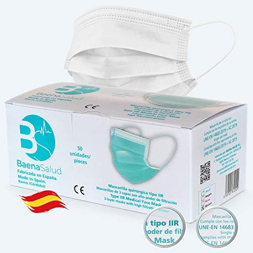 BAENA 50 Mascarillas Quirúrgicas, higiénicas, desechables, Tipo IIR, en color blanco, filtración (BFE) 98%, hechas en España