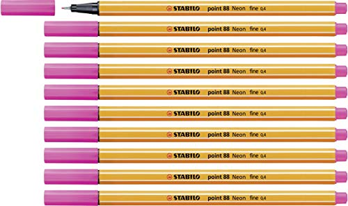 Fineliner - STABILO point 88 - 10er Pack - Neonfarbe, leuchtfarbenrosa