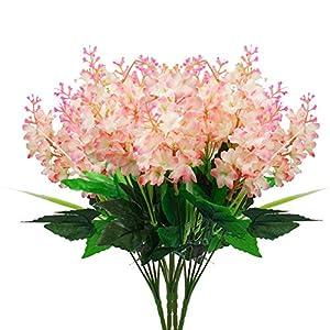 Uieke 4Pcs Artificial Flowers Wisteria Bundle Fake Flowers Silk Floral Bouquet Arrangements for Home Wedding Party Garden Fences Decor Light Pink