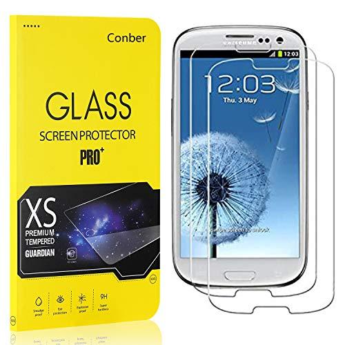 Conber [2 Pezzi] Vetro Temperato per Samsung Galaxy S3 Mini, Proteggi Schermo in Pellicola Protettiva per Samsung Galaxy S3 Mini [9H Durezza][Anti-graffio][Anti-Impronta]