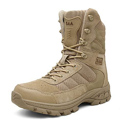NHX Botas Militares para Hombres Botas de Combate Impermeables Zapatos de Comando Caminando con Cuero Cremallera Lateral Ultraligera Botas tácticas Altas