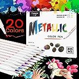 Emooqi Acrylstifte Marker Stifte, Metallic Pinselstifte Set 20 Farben Marker Paint Pen Premium Paint Marker Set Permanent Art Filzstift Acrylstifte Painter für DIY Fotoalbum (1-2MM, Weiche Spitze)