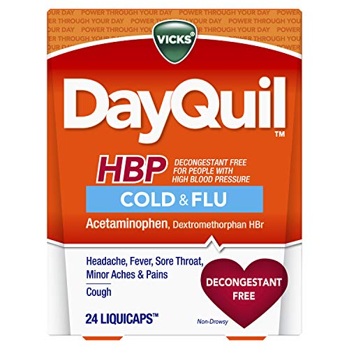 Vicks DayQuil, Cough, Cold & Flu Relief for High Blood Pressure, Sore Throat, Fever, and Cough Relief, Decongestant Free, 24 LiquiCaps