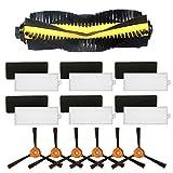 Louu - 1 cepillo enrollable para + 6 cepillos laterales + 6 filtros HEPA + 6 esponjas para...