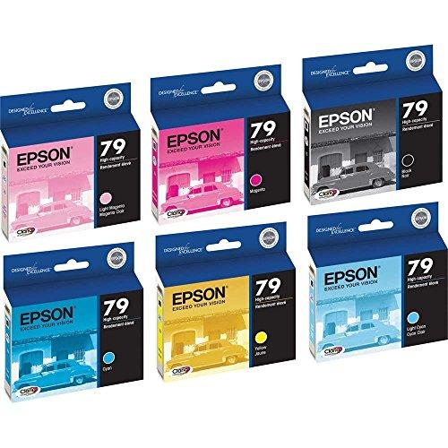 6 Pack (Full Set) Epson 79 T079120, T079220, T079320, T079420, T079520, T079620 Ink Cartridges for Epson Stylus Photo 1400 Printers