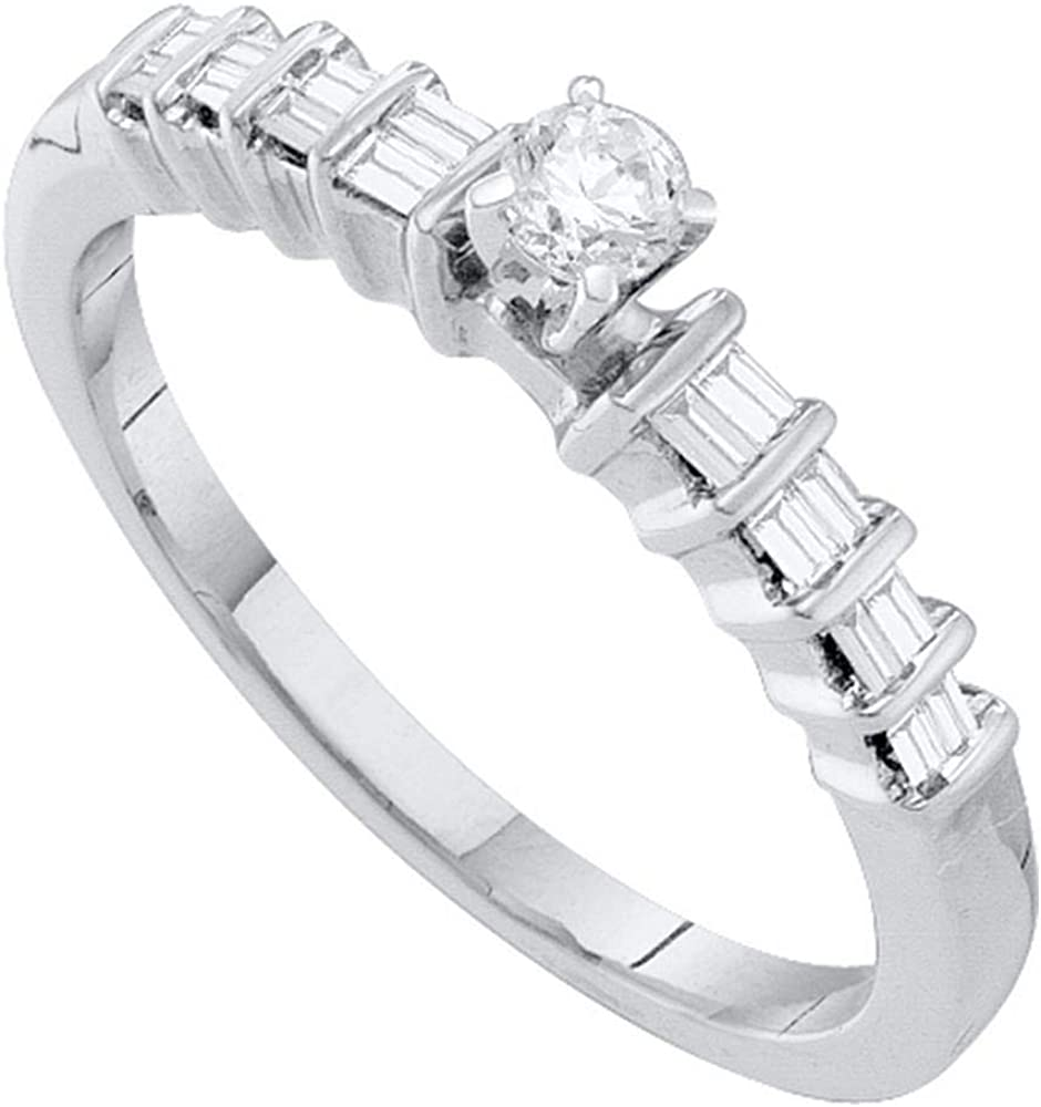 Dazzlingrock Collection 10kt White Gold Womens Round Diamond Solitaire Promise Bridal Ring 1/4 ctw