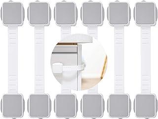 ベビーガードドアロック チャイルドロック ストッパー赤ちゃん いたずら防止 二重ロック 指挟み防止 食器棚 家具転倒 開閉防止 テープ取り付けが簡単 白 グレー 3&6本入り 地震対策に