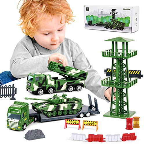 Military Vehicle Playset for Boys, Army Toys with Tank, Semi Flatbed Trailer, Missile Launcher Truck, Watchtower and Road Sign Accessories(40Pcs), Gift for Age 3 and up Kids Toddlers Children Present