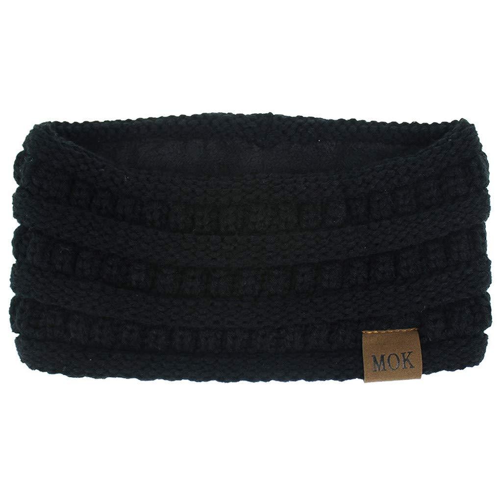 Yamart Womens Winter Knitted Headbands Keep Warm Knitting Headband Handmade Sport Hairband (White)