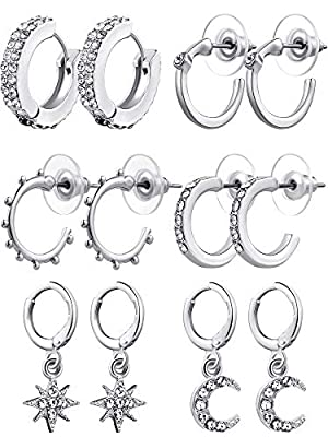 6 Pairs Moon Star Dangle Earring Cubic Zirconia Huggies Hoop Earrings Charm Hoop Rhinestone Earring (Silver)