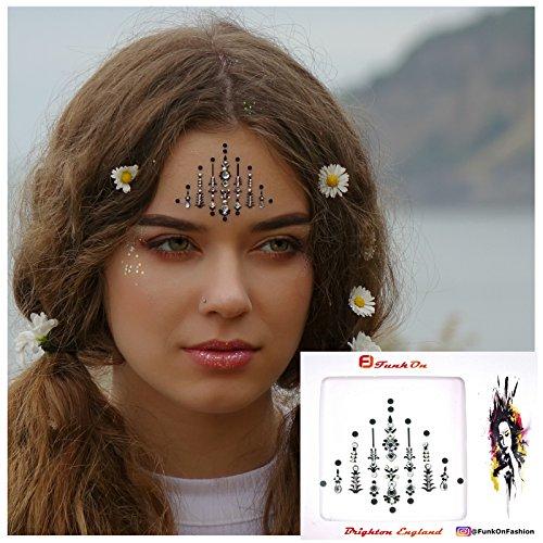 Silver Face Gem/Crystal Face Jewels For Festivals/Body Jewel glitter tattoo/All In One Stick On Bindi/Rhinestone Jewellery Headpiece/Festival Makeup/pyramid Bc6Sil