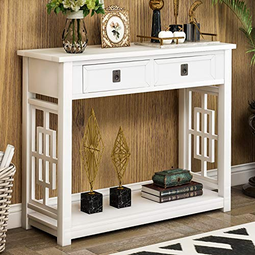 Sofa Table Console Table for Living Room,Rustic Brushed Texture Entryway Table with Two Drawers and Bottom Shelf, Easy Assemble Sideboard Table for Hallway,Entryway Cut-Out Design (White)
