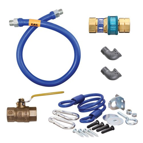 Dormont 1675KIT48 Deluxe SnapFast 48' Gas Connector Kit with Two Elbows and Restraining Cable - 3/4' Diameter